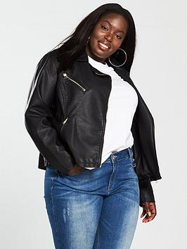 V by Very Curve V By Very Curve Faux Leather Biker Jacket - Black Picture
