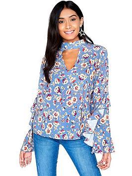 girls-on-film-choker-detail-blouse--nbspfloral-printnbsp