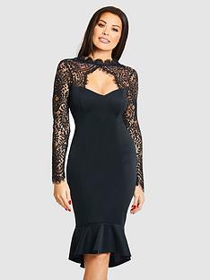 jessica-wright-calancia-lace-sleeve-fluted-hem-midi-dress