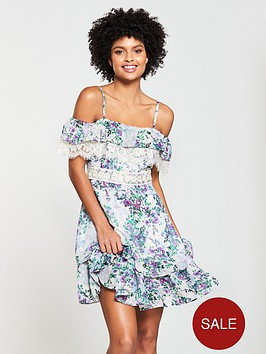 v-by-very-printed-cold-shoulder-lace-trim-dress
