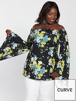 v-by-very-curve-bardot-fluted-sleeve-tunic-print