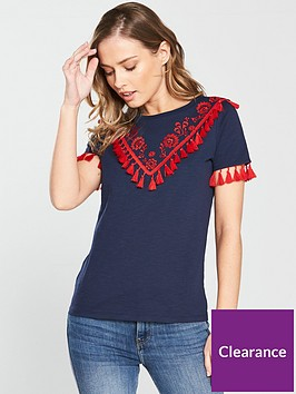 v-by-very-tasselnbspembroidered-t-shirt-navynbsp