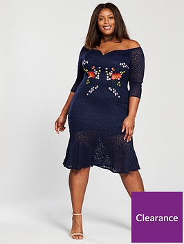 little-mistress-curve-off-shoulder-embroidered-lace-midi-dress-navy