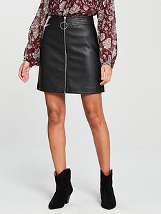 v-by-very-zip-front-pu-skirt-black
