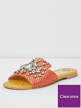 river-island-river-island-embellished-gem-strap-sliders--yellow