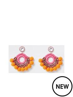 river-island-river-island-pom-diamonte-stud-drop-earrings--orange
