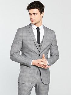 v-by-very-slim-checked-blazer-grey