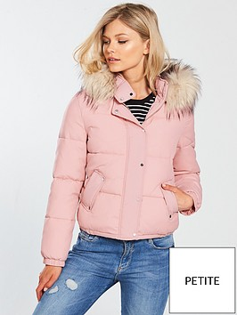 v-by-very-petite-faux-fur-hooded-padded-coat--nbspblush