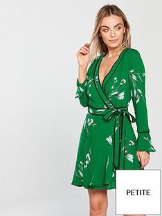 v-by-very-petite-wrap-day-dress-green-print