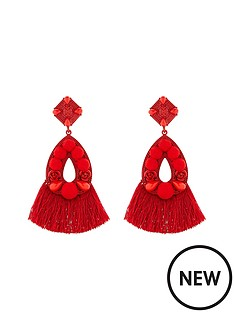 v-by-very-aria-mixed-media-tassel-earrings-red