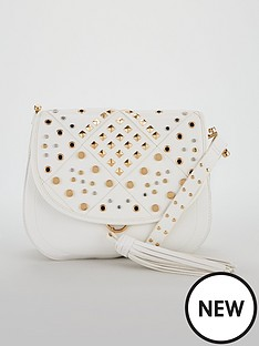 v-by-very-penny-stud-detail-saddle-bag-white