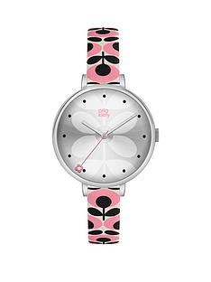 orla-kiely-ivy-silver-dial-blue-and-pink-printed-leather-strap-ladies-watch