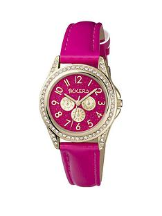 tikkers-tikkers-bright-pink-glitter-and-gold-dial-and-bright-pink-leather-strap-kids-watch
