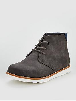 V by Very V By Very Boys Calvin Lace Up Desert Boots - Grey Picture