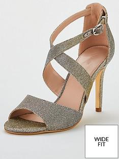 7624ad178634 V by Very Geneva Mid Heel Glitter Lurex Sandal