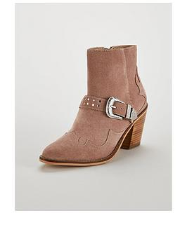 V by Very V By Very Forest Real Suede Heel Western Boot - Blush Picture
