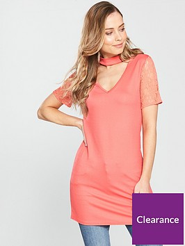 v-by-very-choker-v-neck-lace-sleeve-longline-top-pink