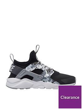 6de19c36a8 Nike Air Huarache Run Ultra Printed Junior Trainers - Black/Grey ...