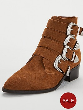 83c46a3e16f8 V By Very Wide Fit Florence Real Suede Western Buckle Strap Ankle