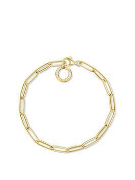 Thomas Sabo   18K Gold Plate Paper Clip Link Sterling Silver 17Cm Charm Carrier Bracelet