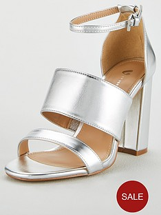 7d76c3f2b2d V by Very Wide Fit Bess High Block Heel 3 Strap Sandal - Silver