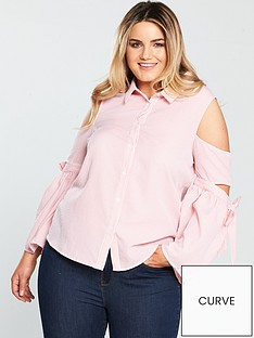 lost-ink-plus-lost-ink-curve-stripe-shirt-with-cutout-sleeves