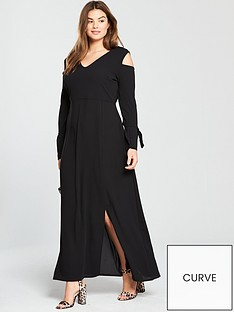 lost-ink-curve-maxi-dress-with-cold-shoulder-sleeve