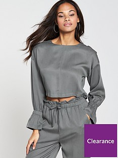 native-youth-elasticated-cuff-top-grey