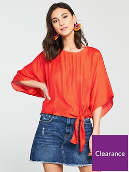 river-island-knot-front-t-shirt--red