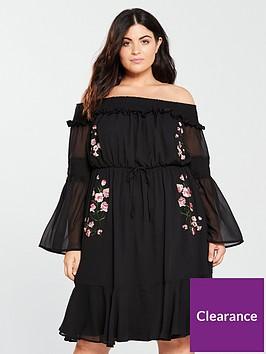 lost-ink-plus-embroiderednbspbardot-dress-blacknbsp