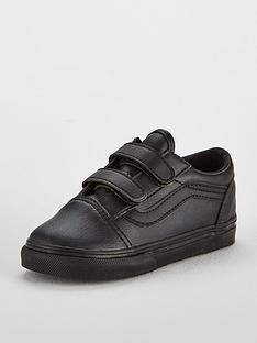 62ea32b3af1b2d Vans Old Skool Leather Infant Trainer - Black