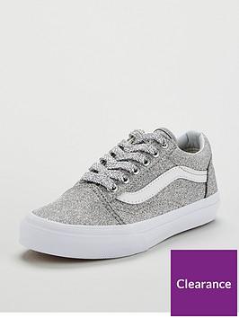 5a1be0b67b3 Vans Old Skool Glitter Junior Trainers - Sliver White