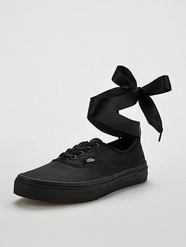 vans authentic elastic lace junior trainer - black
