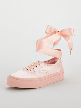 vans authentic elastic lace junior trainer - pink