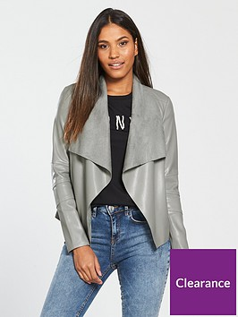 v-by-very-pu-waterfall-jacket-grey