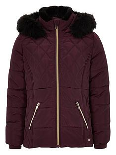 river-island-girls-berry-faux-fur-trim-padded-coat