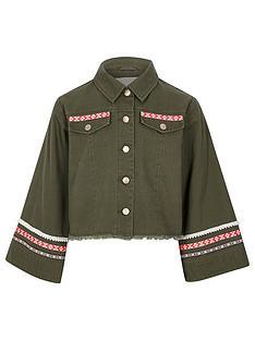 72045fa21dd31 River Island Girls khaki embroidered trim shacket