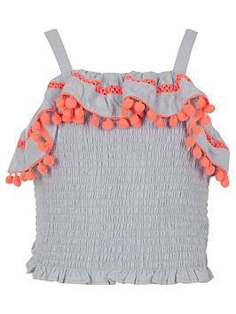 river-island-girls-shirred-pom-pom-trim-crop-top