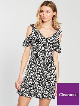 v-by-very-cold-shoulder-tie-waist-dress-mono-print