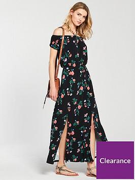 v-by-very-bardot-split-front-maxi-dress-black-print