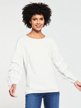 v-by-very-ruched-sleeve-woven-mix-jersey-top-ivory