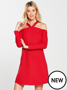 v-by-very-halter-neck-swing-dress-bright-red