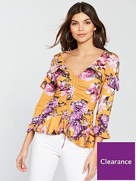v-by-very-floral-printed-jerseynbsppeplum-top-yellow