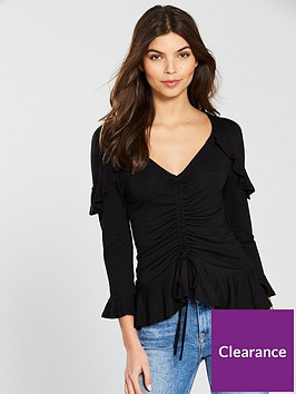 v-by-very-drawstring-front-jerseynbsppeplum-top-black
