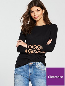 v-by-very-rib-lattice-sleeve-top-black