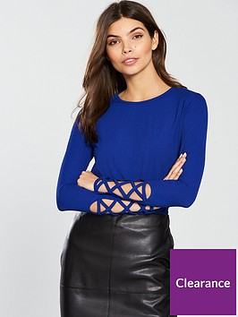 v-by-very-rib-lattice-sleeve-top-bluenbsp