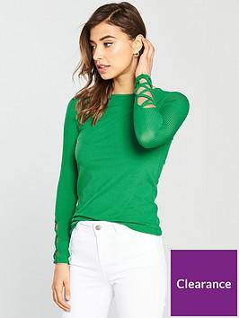 v-by-very-rib-lattice-sleeve-top-green