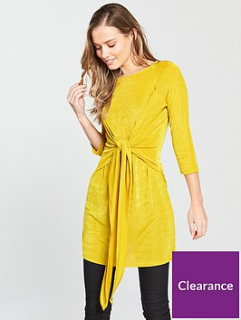 v-by-very-tie-front-slinky-tunic-top-yellow