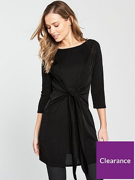 v-by-very-tie-front-slinky-tunic-black
