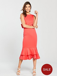 true-violet-bow-back-peplumnbsphem-pencil-dress-coral-rednbsp